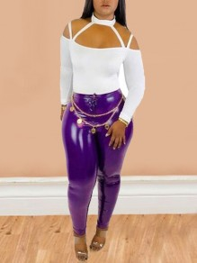 Legging boutons latex taille haute vinly clubwear party long violet