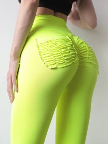 Yellow Green Ruched High Waisted Push Up Sports Yoga Long Legging
