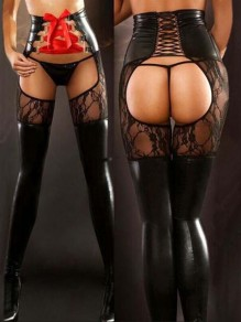 Black-Red Patchwork Lace Cut Out Lace-up Pu Leather Latex Long Legging