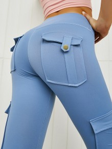 Blue Pocket Elastic Waist High Waist Fashion Long Legging