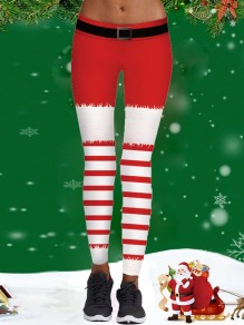 Red Belt Christmas Santa - Langes Legging mit gestreiftem Sport-Yoga-Workout