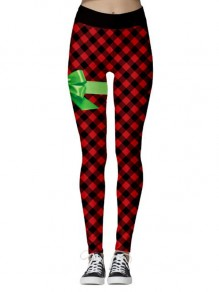 Red-Black Plaid Flannel Buffalo Pattern High Waisted Yoga Christmas Sports Santa Workout Legging