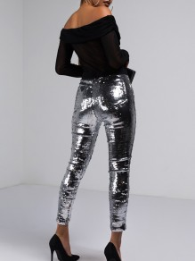 Silver Sequin Pockets High Waisted Long Legging