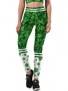 Grün Kleeblatt Print High Waisted Fitness Yoga Schlank St. Patrick's Day Lange Leggings Damen Mode