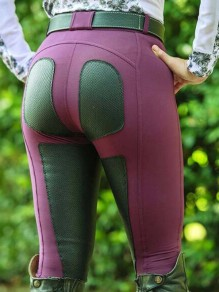 Purple-Black Patchwork Pockets High Waisted Riding Push Up Sports Long Legging