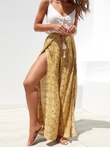 Yellow Floral Drawstring Tassel Side Split High Waisted Fashion Long Pant