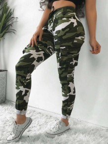 Army Green Camouflage Pockets Drawstring High Waisted Cargo Casual Long Pants