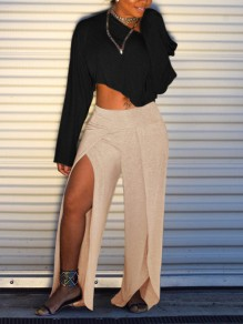 Beige Thigh High Side Slits High Waisted Yoga Casual Wide Leg Palazzo Long Pant