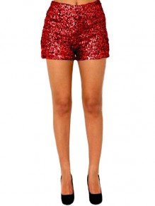 Red Patchwork Sequin Bodycon High Waisted Sparkly Glitter Birthday Short Pant