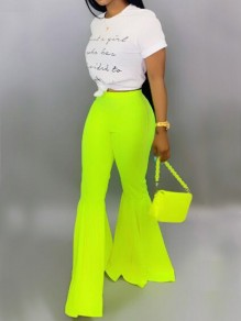 Green Draped High Waisted Extreme Flare Bell Bottom Vintage Long Pants