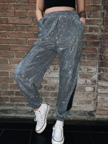 Silver Sequin Pockets Cut Out High Waisted Glitter Sparkly Clubwear Long Pants