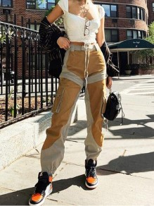 Khaki-Brwon Patchwork Pockets High Waisted Casual Cargo Long Pants