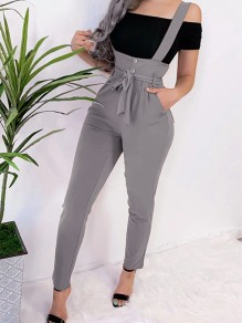 Grey Comfy Fashion Waist High Waisted Pants