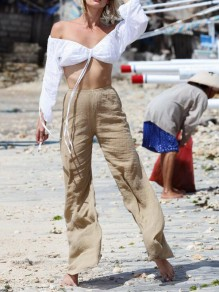 Khaki Draped High Waisted Extreme Flare Bell Bottom Cotton Casual Long Pants