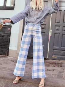 Blue-White Plaid Zipper High Waisted Flare Bell Bottom Fashion Casual Vintage Long Pants