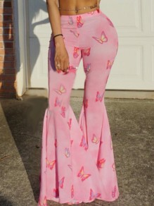 Pink Butterfly Print Pleated Bell Bottomed Flares Long Pant