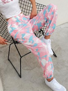 Pink Camouflage Pockets High Waisted Casual Haren Cago Long Pants