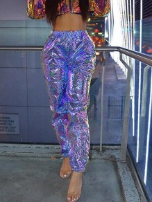 Purple Sequin Laser Reflective High Waisted Sparkly Haren Cargo Rave Long Pants