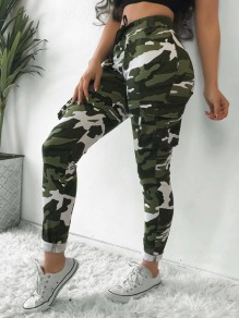 Pantalon long poches taille haute casual sarouel camouflage vert