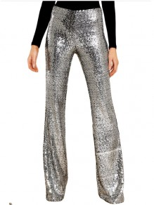 Silber Patchwork Pailletten Party hoch taillierte Bell Bottomed Flares lange Hose