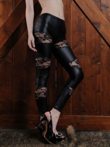 Black Patchwork Lace PU Leather Latex Halloween Party Long Pant