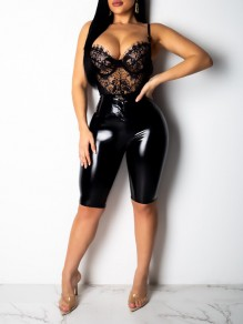 Black Buttons Zipper PU Leather Latex Bodycon High Waisted Party Short Pants