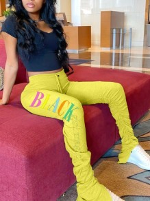 "Pantalone lungo stampa ""black girl magic"" coulisse pieghe casual A pieghe A vita alta sport giallo giallo"