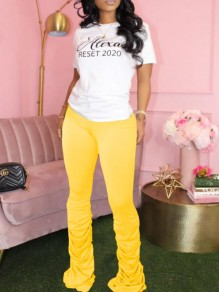 Yellow Pleated Scrunch Casual Sports High Waisted Bell Bottomed Flares Long Pant