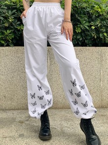 White Butterfly Print Pocket Drawstring High Waisted Wide Leg Long Pants