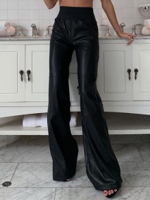 Black PU Leather High Waisted Elastic Waist Fashion Bell Bottom Flare Long Pants