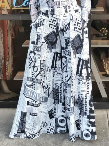 White Newspaper Print Pockets High Waisted Wide Leg Palazzo Long Pant