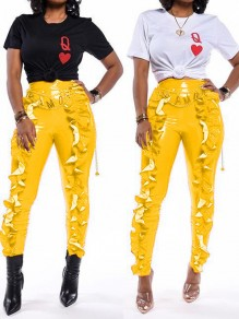 Yellow Cascading Ruffle PU Leather Latex Rubber High Waisted Party Long Pant