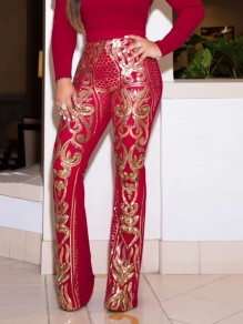 Red Patchwork Sequin Sparkly Glitter Birthday Wide Leg Palazzo Long Pant