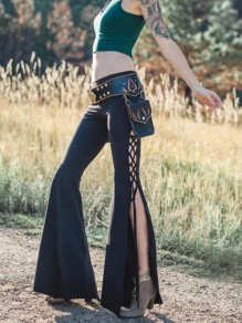 Black Lace-up Side Slits Pagan High Waisted Bell Bottomed Flares Long Pant