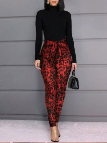 Red Leopard Print Belt Pockets High Waisted Casual Long Pant