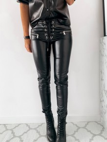 Black Patchwork Strappy Lace-up High Waisted Fashion Long PU Leather Scrunch Pants