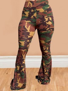 Brown Camouflage Draped High Waisted Extreme Flare Bell Bottom Long Pants