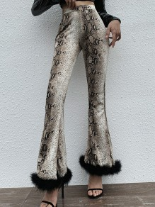 Brown Snakeskin Pattern Feather High Waisted Party Bell Bottomed Flares Long Pant