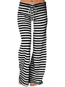 Black White Striped Drawstring Fashion Long Wide Leg Pajamas Pants