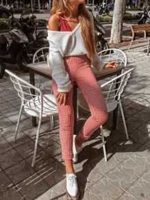 Red White Plaid Pattern Ttrendy Slim Fashion Long Pants