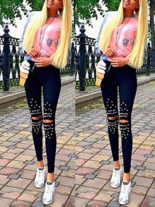Black Patchwork Beading Ripped Destroyed Bodycon Skinny Pencil Jeans Fashion Pant