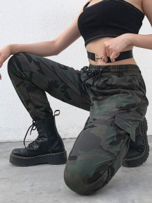 Green Camouflage Pockets Drawstring High Waisted Harem Long Pants