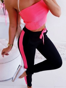 Pink Drawstring Hit Color Bodycon Comfy Sports Pants