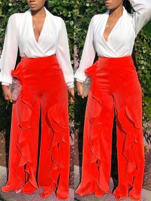 Red Patchwork Ruffle Slit Wide Leg Palazzo Casual Long Pants