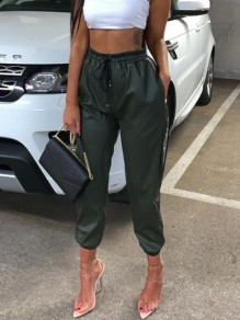 Green Pockets Elastic Waist Lace-up High Waisted PU Leather Casual Long Pants