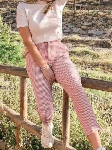 Pink Plaid Print Pockets Buttons High Waisted Nine's Pants