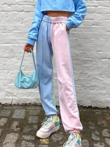 Pink Blue Patchwork Pockets High Waisted Fashion Long Pants
