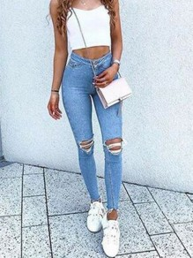 Light Blue Pockets Ripped Destroyed High Waisted Fashion Long Jeans