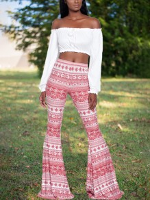 Rose Pink Tribal Floral High Waisted Ass Boho Palazzo Bell Bottom Long Flare Booty Pants