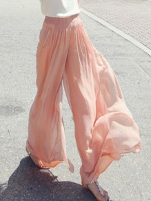 Pink Pockets Draped High Waisted Chiffon Bohemian Wide Leg Long Pants